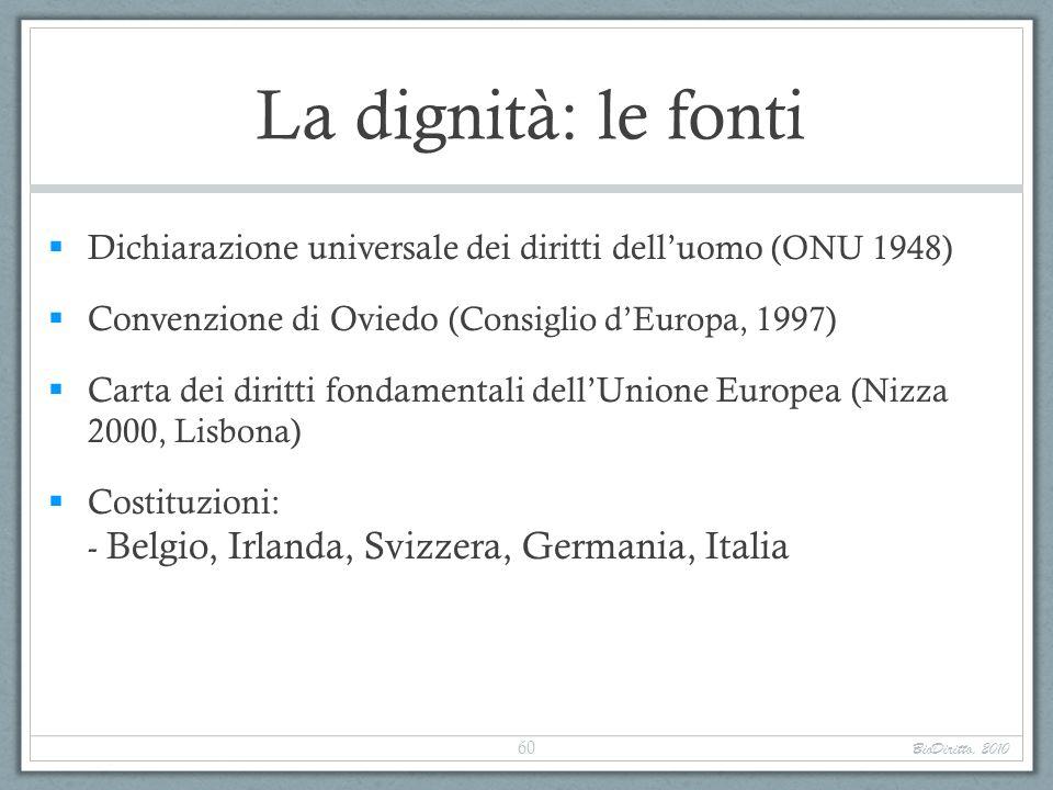 La dignità: le fonti Dichiarazione universale dei diritti delluomo (ONU 1948) Convenzione di Oviedo (Consiglio dEuropa, 1997) Carta dei diritti fondam