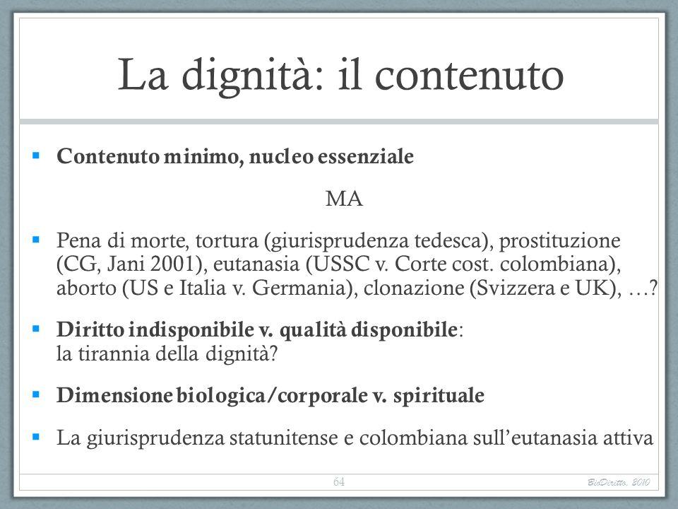 La dignità: il contenuto Contenuto minimo, nucleo essenziale MA Pena di morte, tortura (giurisprudenza tedesca), prostituzione (CG, Jani 2001), eutana