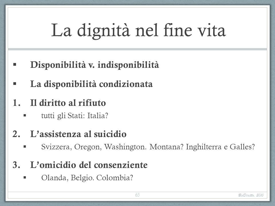 La dignità nel fine vita Disponibilità v. indisponibilità La disponibilità condizionata 1.Il diritto al rifiuto tutti gli Stati: Italia? 2.Lassistenza