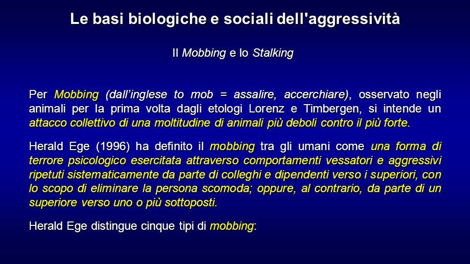 Il Mobbing e lo Stalking Per Mobbing (dallinglese to mob = assalire, accerchiare), osservato negli animali per la prima volta dagli etologi Lorenz e T