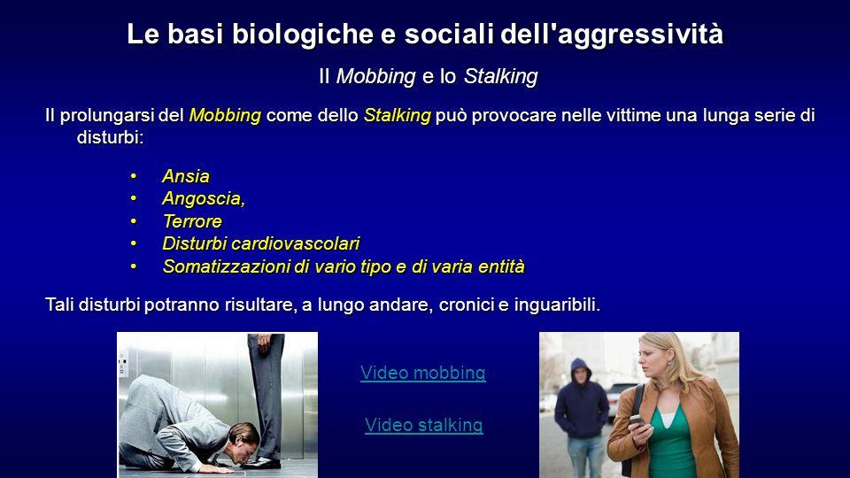 Il Mobbing e lo Stalking Il prolungarsi del Mobbing come dello Stalking può provocare nelle vittime una lunga serie di disturbi: AnsiaAnsia Angoscia,A