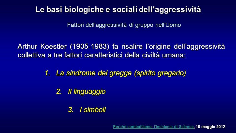 Arthur Koestler (1905-1983) fa risalire lorigine dellaggressività collettiva a tre fattori caratteristici della civiltà umana: 1.La sindrome del gregg