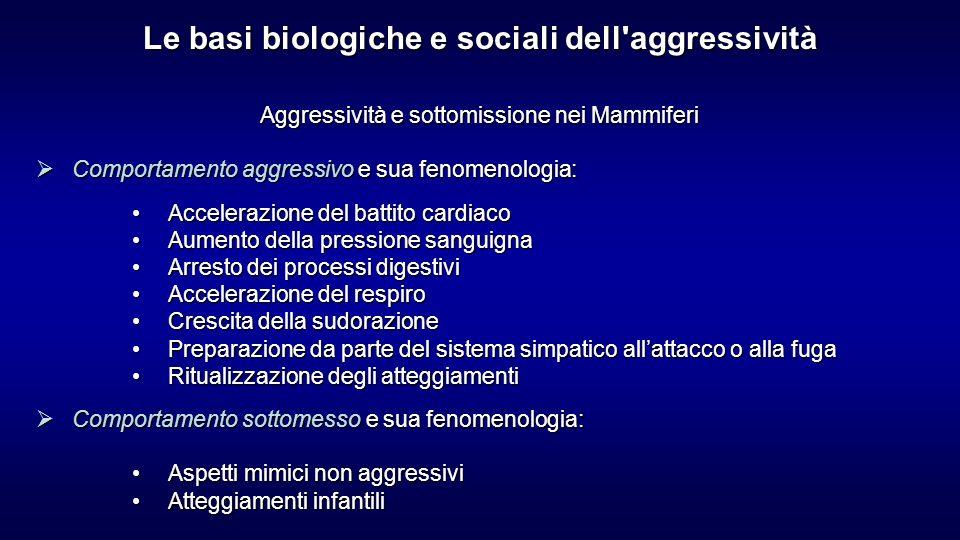Aggressività e sottomissione nei Mammiferi Comportamento aggressivo e sua fenomenologia: Comportamento aggressivo e sua fenomenologia: Accelerazione d