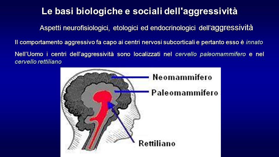 Aspetti neurofisiologici, etologici ed endocrinologici dell aggressività Il comportamento aggressivo fa capo ai centri nervosi subcorticali e pertanto