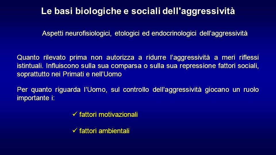 Aspetti neurofisiologici, etologici ed endocrinologici dellaggressività Quanto rilevato prima non autorizza a ridurre laggressività a meri riflessi is