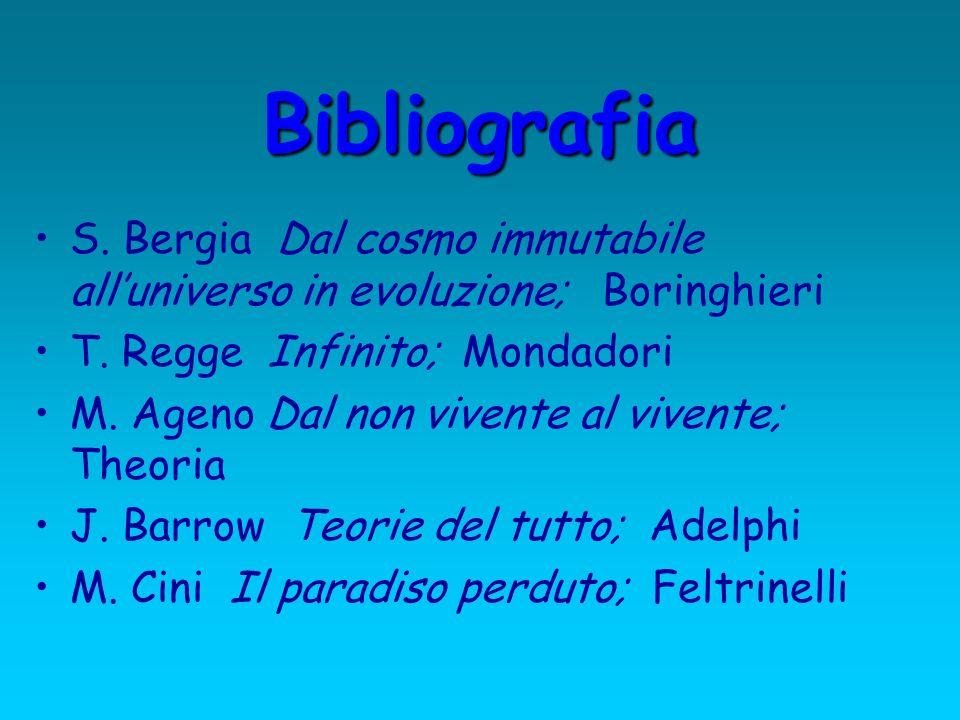 Bibliografia S. Bergia Dal cosmo immutabile alluniverso in evoluzione; Boringhieri T. Regge Infinito; Mondadori M. Ageno Dal non vivente al vivente; T