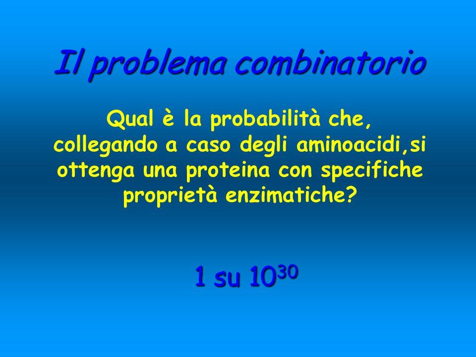 Il problema combinatorio Qual è la probabilità che, collegando a caso degli aminoacidi,si ottenga una proteina con specifiche proprietà enzimatiche? 1