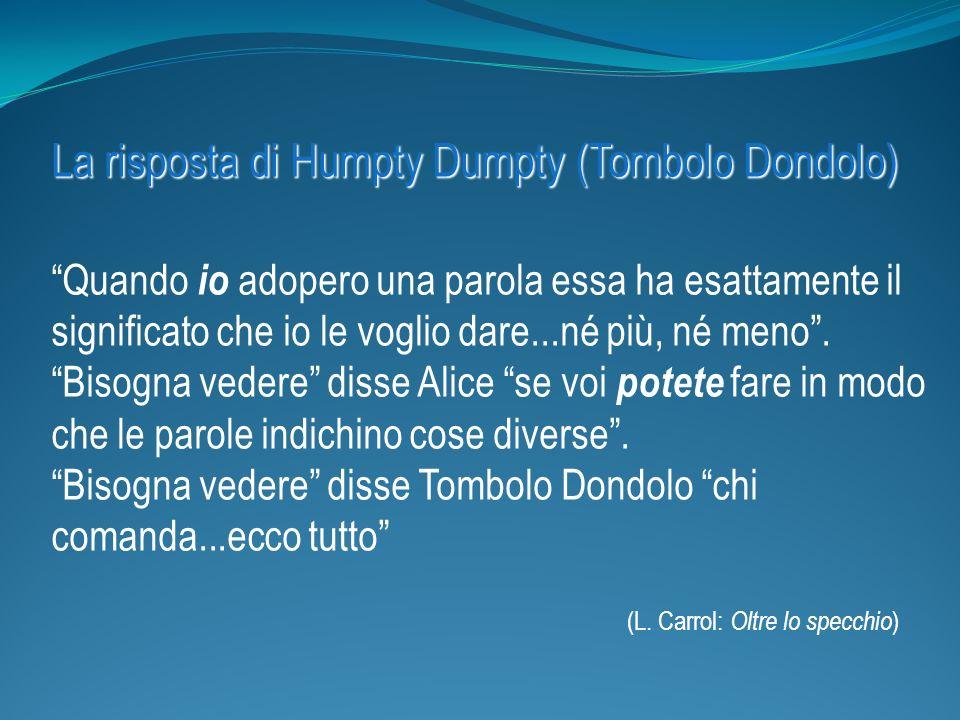 La risposta di Humpty Dumpty (Tombolo Dondolo) Quando io adopero una parola essa ha esattamente il significato che io le voglio dare...né più, né meno.