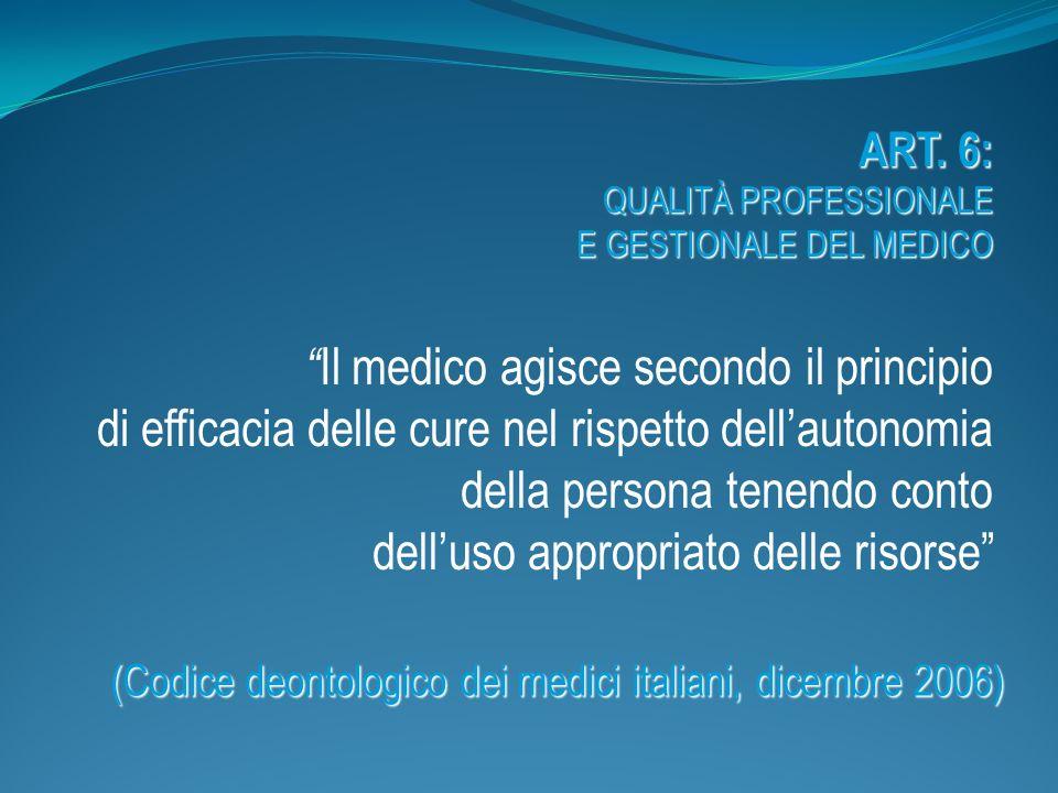 ART. 6: QUALITÀ PROFESSIONALE E GESTIONALE DEL MEDICO Il medico agisce secondo il principio di efficacia delle cure nel rispetto dellautonomia della p