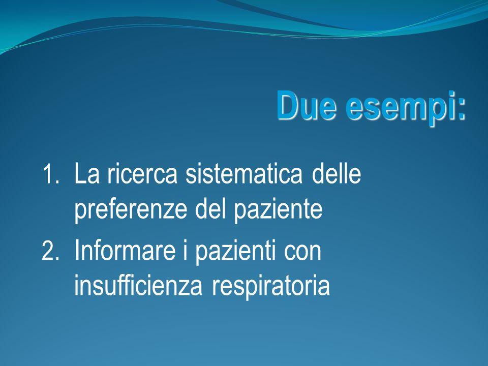 Due esempi: 1. La ricerca sistematica delle preferenze del paziente 2. Informare i pazienti con insufficienza respiratoria