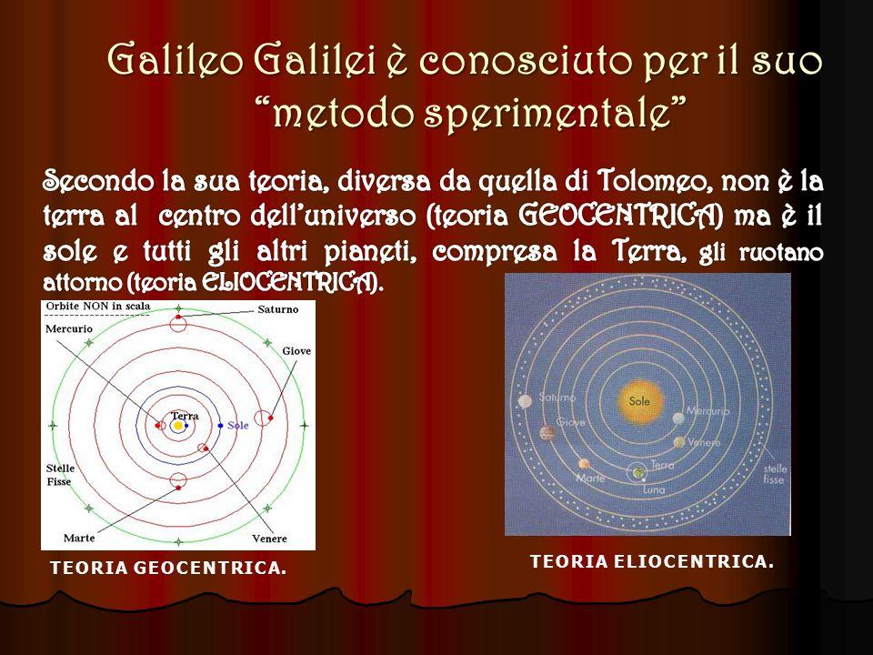 Galileo Galilei è conosciuto per il suo metodo sperimentale metodo sperimentale TEORIA GEOCENTRICA.TEORIA GEOCENTRICA.