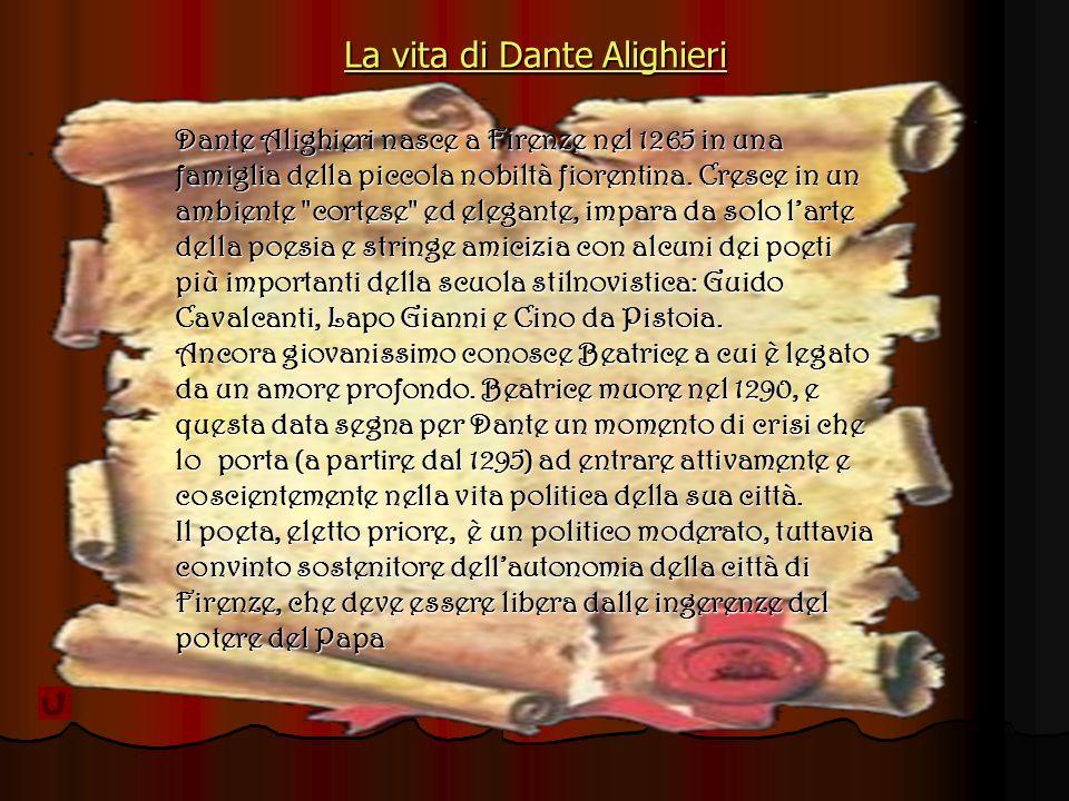 La vita di Dante Alighieri La vita di Dante AlighieriDante Alighieri nasce a Firenze nel 1265 in una famiglia della piccola nobiltà fiorentina.
