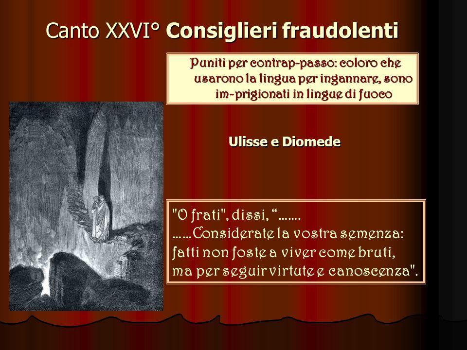 Canto XXVI° Consiglieri fraudolenti Puniti per contrap-passo: coloro che usarono la lingua per ingannare, sono im-prigionati in lingue di fuoco O frati , dissi, …….