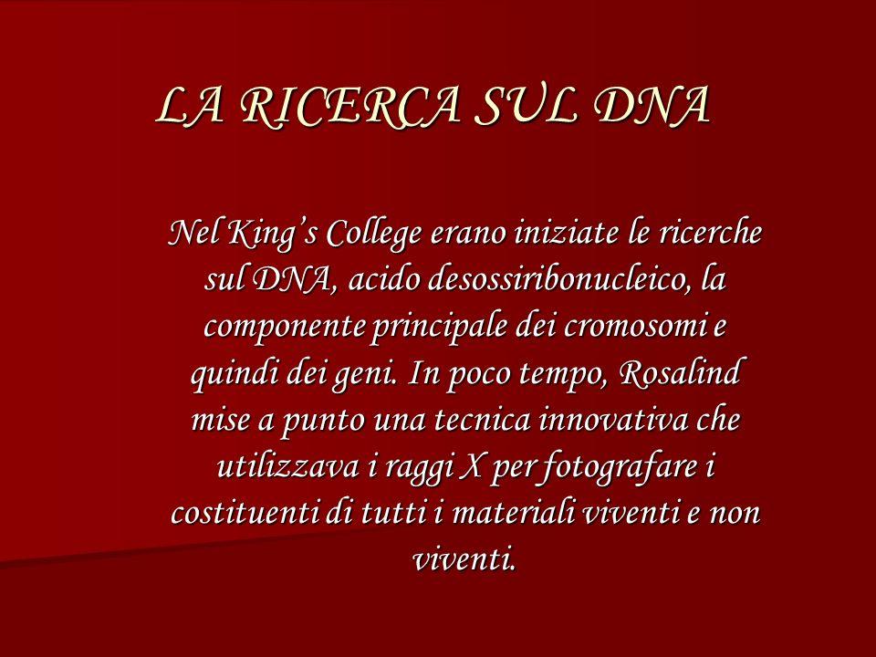 LA RICERCA SUL DNA Nel Kings College erano iniziate le ricerche sul DNA, acido desossiribonucleico, la componente principale dei cromosomi e quindi dei geni.