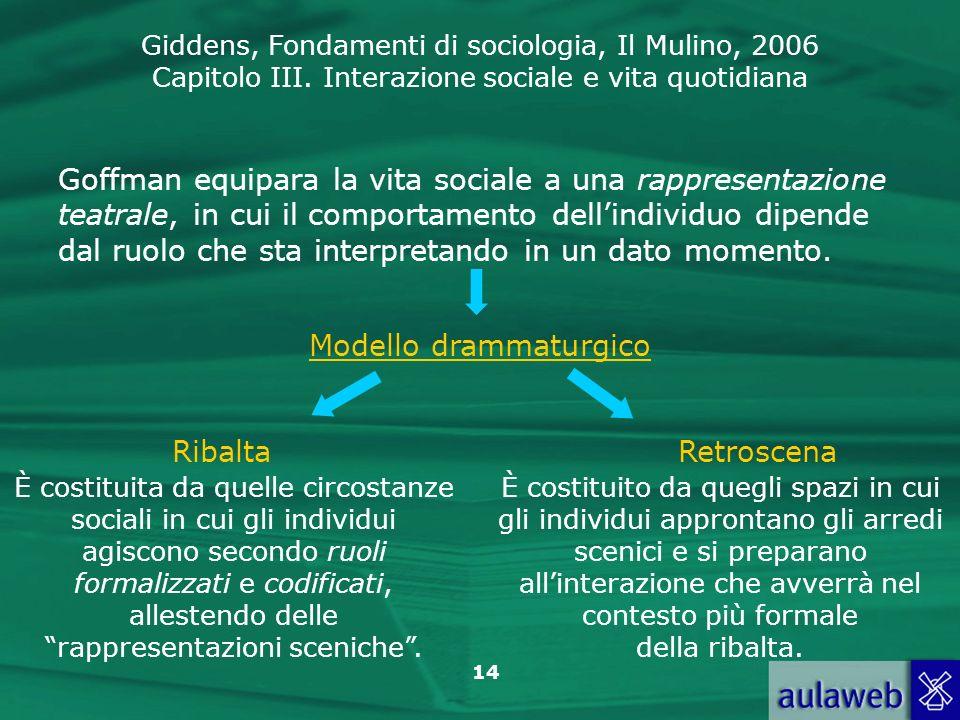 Giddens, Fondamenti di sociologia, Il Mulino, 2006 Capitolo III. Interazione sociale e vita quotidiana 14 Goffman equipara la vita sociale a una rappr