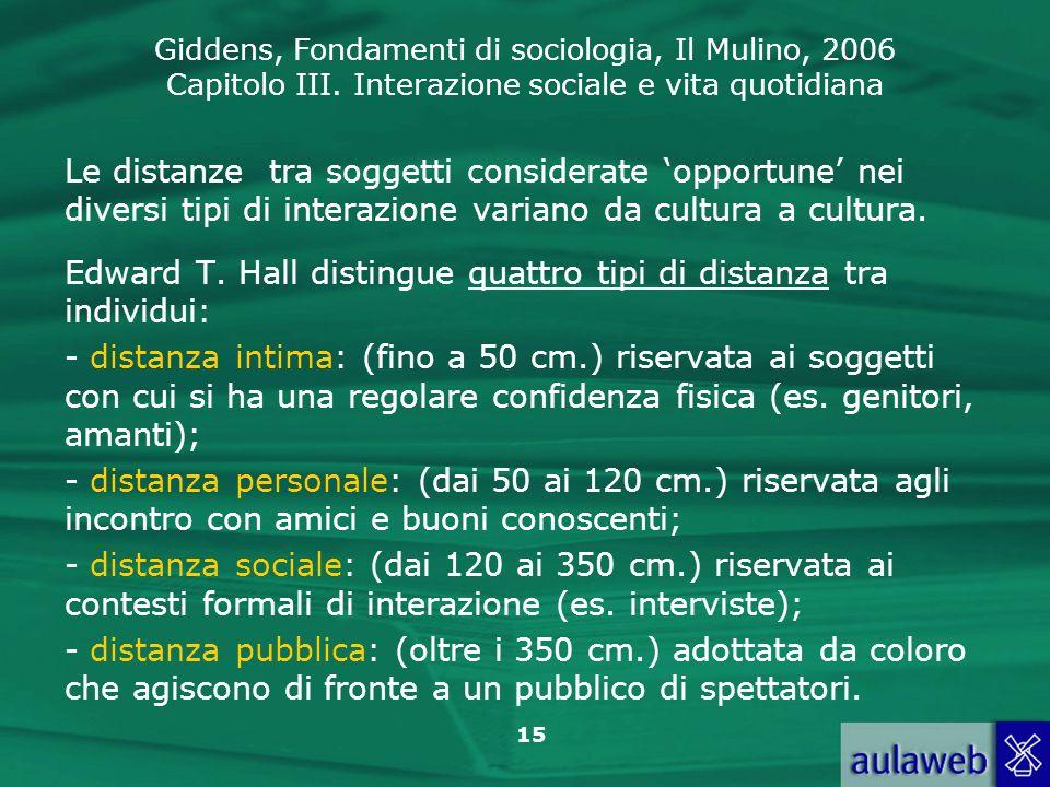 Giddens, Fondamenti di sociologia, Il Mulino, 2006 Capitolo III. Interazione sociale e vita quotidiana 15 Le distanze tra soggetti considerate opportu