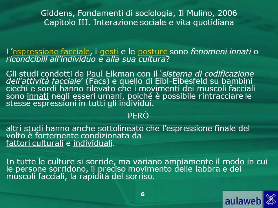 Giddens, Fondamenti di sociologia, Il Mulino, 2006 Capitolo III. Interazione sociale e vita quotidiana 6 Lespressione facciale, i gesti e le posture s