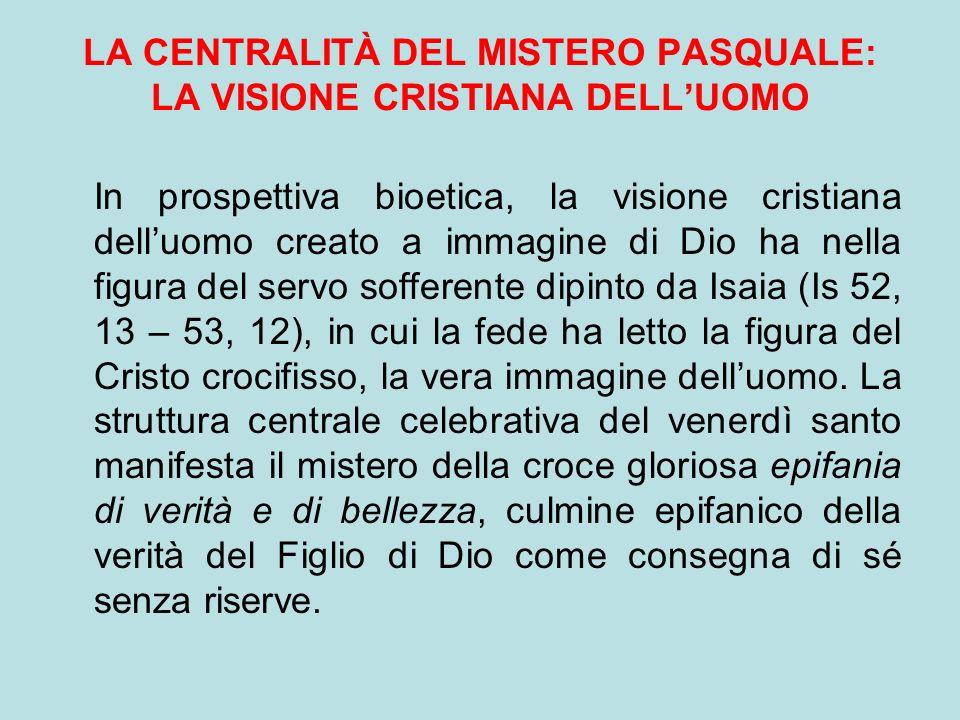 LA CENTRALITÀ DEL MISTERO PASQUALE: LA VISIONE CRISTIANA DELLUOMO In prospettiva bioetica, la visione cristiana delluomo creato a immagine di Dio ha n