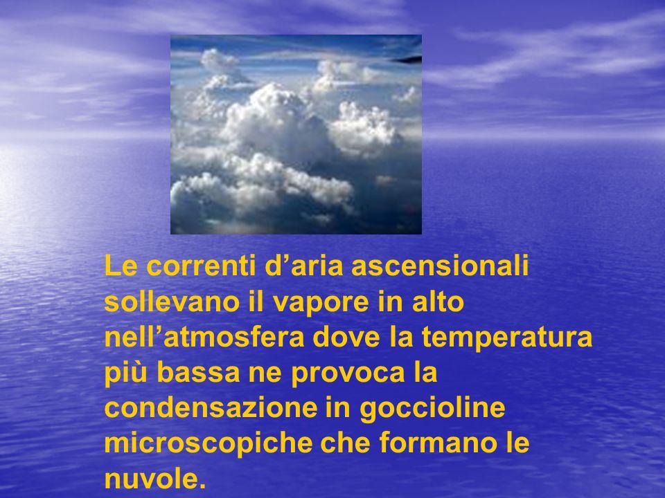 Le correnti daria ascensionali sollevano il vapore in alto nellatmosfera dove la temperatura più bassa ne provoca la condensazione in goccioline micro