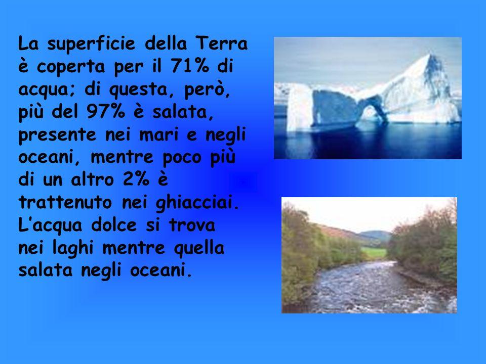 La superficie della Terra è coperta per il 71% di acqua; di questa, però, più del 97% è salata, presente nei mari e negli oceani, mentre poco più di u