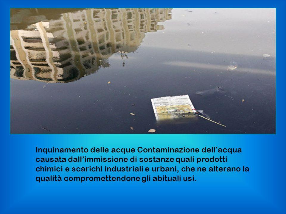 Inquinamento delle acque Contaminazione dellacqua causata dallimmissione di sostanze quali prodotti chimici e scarichi industriali e urbani, che ne al