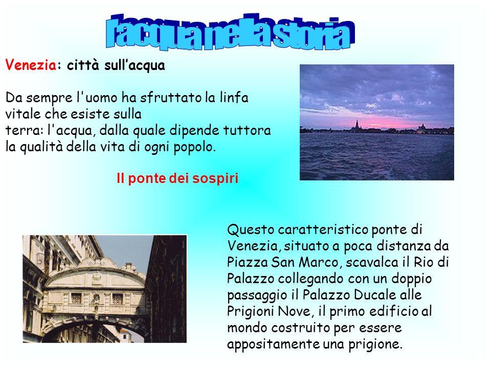 Venezia: città sullacqua Da sempre l'uomo ha sfruttato la linfa vitale che esiste sulla terra: l'acqua, dalla quale dipende tuttora la qualità della v
