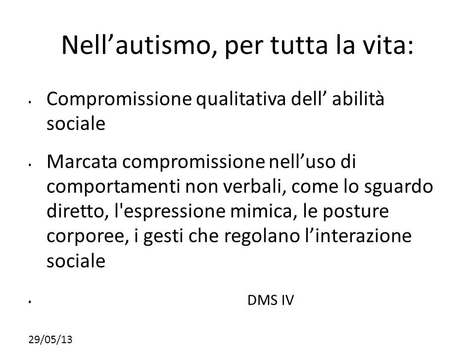 29/05/13 Nellautismo, per tutta la vita: Compromissione qualitativa dell abilità sociale Marcata compromissione nelluso di comportamenti non verbali,