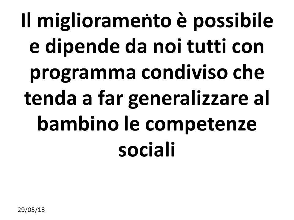29/05/13. Il miglioramento è possibile e dipende da noi tutti con programma condiviso che tenda a far generalizzare al bambino le competenze sociali
