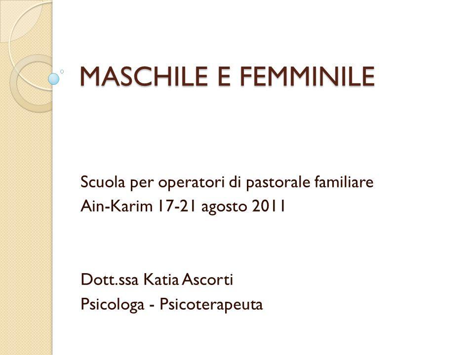 MASCHILE E FEMMINILE Scuola per operatori di pastorale familiare Ain-Karim 17-21 agosto 2011 Dott.ssa Katia Ascorti Psicologa - Psicoterapeuta