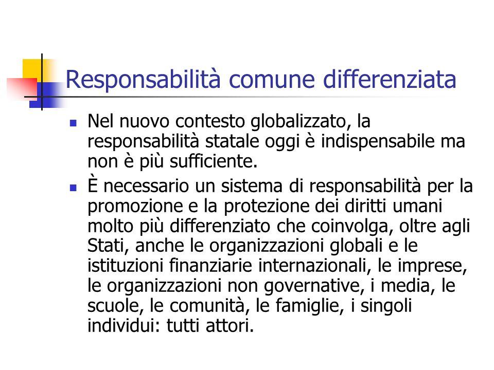 Responsabilità comune differenziata Nel nuovo contesto globalizzato, la responsabilità statale oggi è indispensabile ma non è più sufficiente. È neces