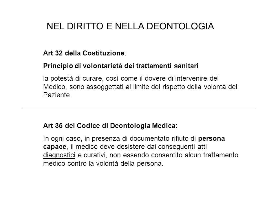NEL DIRITTO E NELLA DEONTOLOGIA Art 32 della Costituzione: Principio di volontarietà dei trattamenti sanitari la potestà di curare, così come il dovere di intervenire del Medico, sono assoggettati al limite del rispetto della volontà del Paziente.