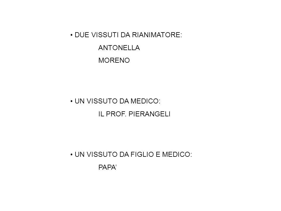 DUE VISSUTI DA RIANIMATORE: ANTONELLA MORENO UN VISSUTO DA MEDICO: IL PROF.