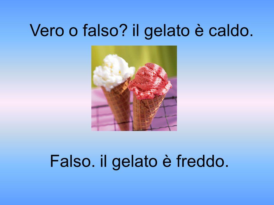 Falso. il gelato è freddo. Vero o falso il gelato è caldo.
