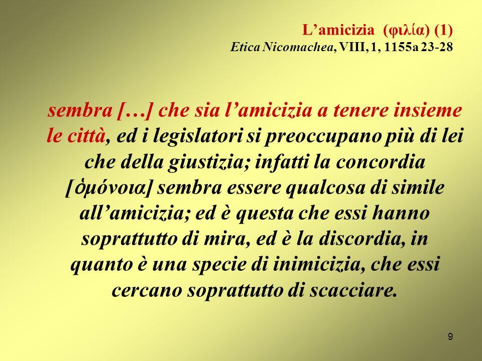 Lamicizia (φιλ α) (1) Etica Nicomachea, VIII, 1, 1155a 23-28 sembra […] che sia lamicizia a tenere insieme le città, ed i legislatori si preoccupano più di lei che della giustizia; infatti la concordia [ μόνοια] sembra essere qualcosa di simile allamicizia; ed è questa che essi hanno soprattutto di mira, ed è la discordia, in quanto è una specie di inimicizia, che essi cercano soprattutto di scacciare.