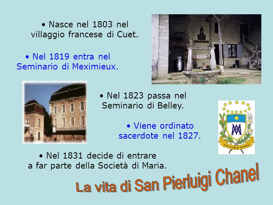 Nel 1833 giunge a Roma con P.Colin per ottenere lapprovazione della Società di Maria.