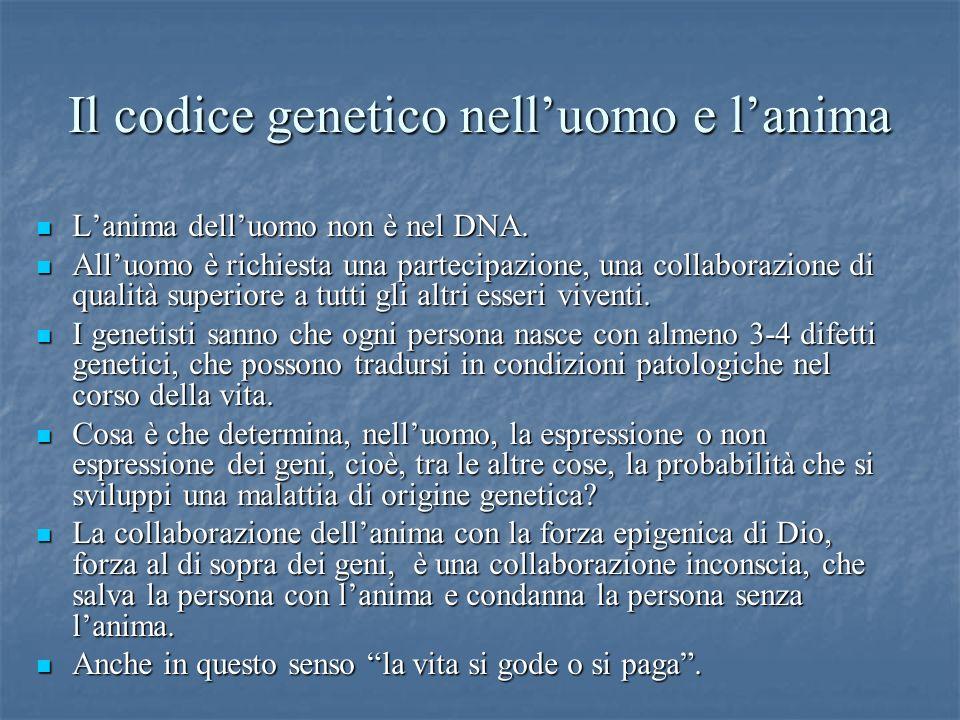 Il codice genetico nelluomo e lanima Lanima delluomo non è nel DNA. Lanima delluomo non è nel DNA. Alluomo è richiesta una partecipazione, una collabo