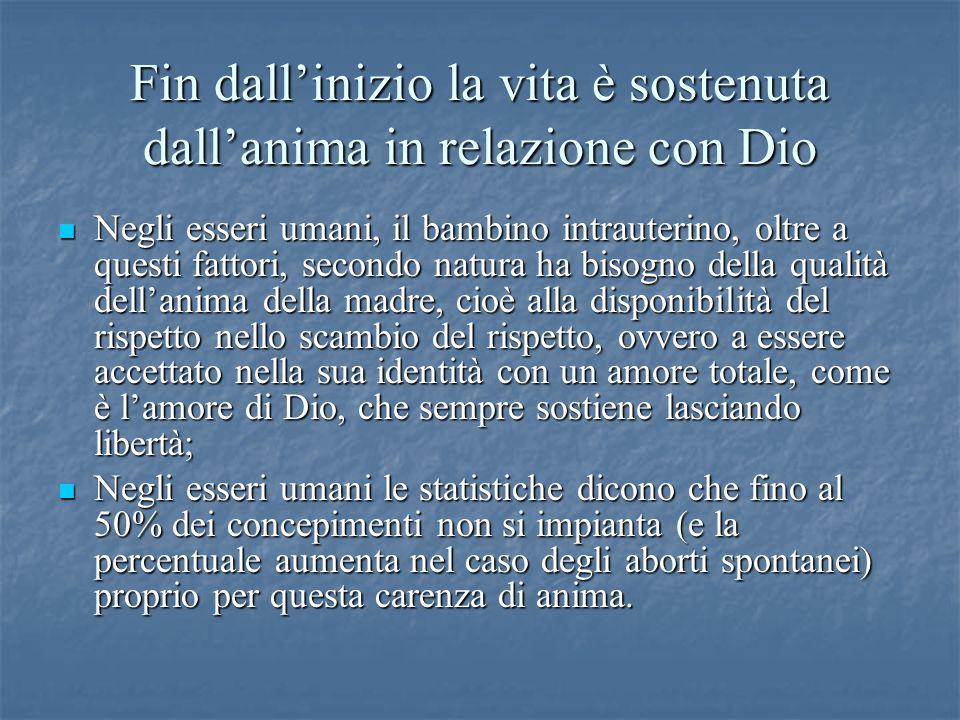 Fin dallinizio la vita è sostenuta dallanima in relazione con Dio Negli esseri umani, il bambino intrauterino, oltre a questi fattori, secondo natura