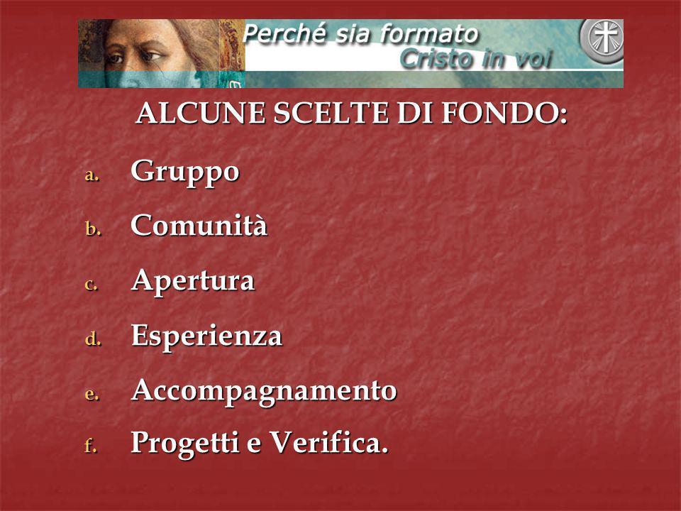 ALCUNE SCELTE DI FONDO: a. G ruppo b. C omunità c.