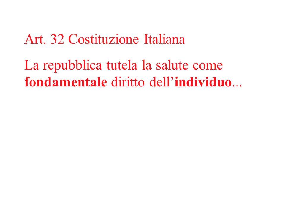 Art. 32 Costituzione Italiana La repubblica tutela la salute come fondamentale diritto dellindividuo...