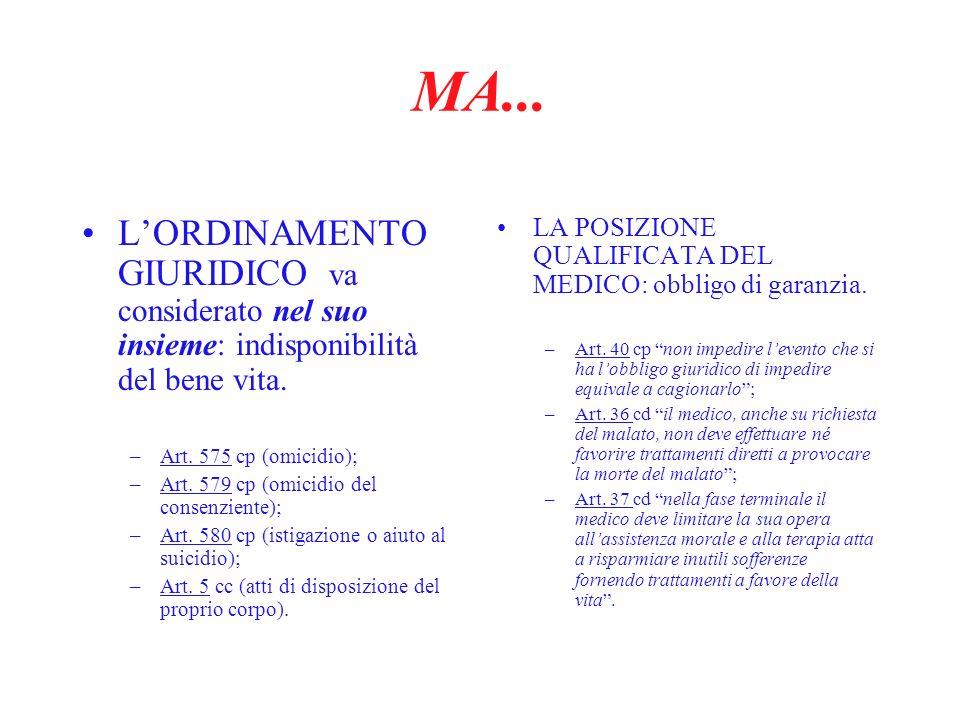 MA... LORDINAMENTO GIURIDICO va considerato nel suo insieme: indisponibilità del bene vita. –Art. 575 cp (omicidio); –Art. 579 cp (omicidio del consen