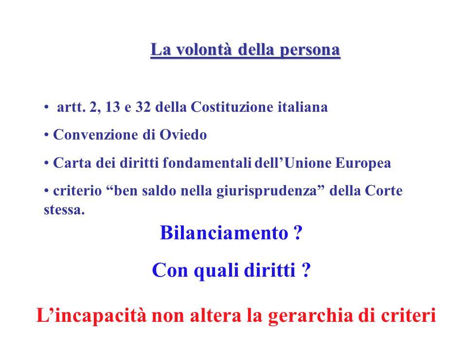 La volontà della persona artt. 2, 13 e 32 della Costituzione italiana Convenzione di Oviedo Carta dei diritti fondamentali dellUnione Europea criterio