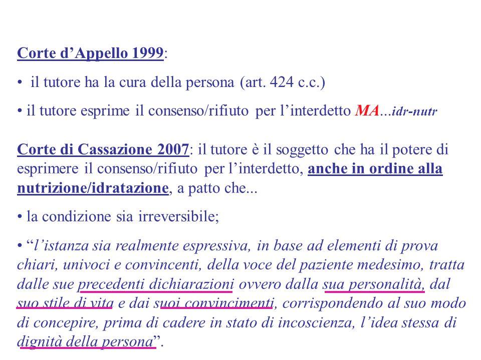 Corte dAppello 1999: il tutore ha la cura della persona (art. 424 c.c.) il tutore esprime il consenso/rifiuto per linterdetto MA... idr-nutr Corte di