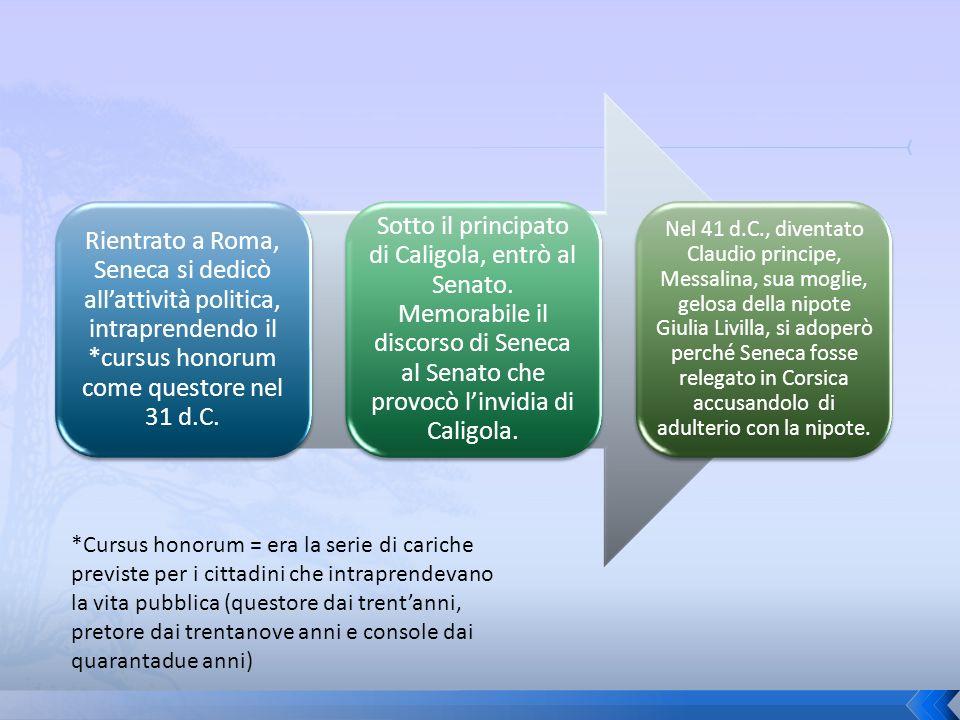 Rientrato a Roma, Seneca si dedicò allattività politica, intraprendendo il *cursus honorum come questore nel 31 d.C. Sotto il principato di Caligola,