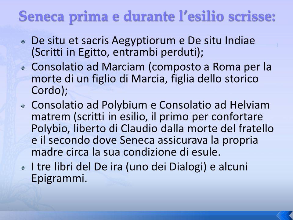 De situ et sacris Aegyptiorum e De situ Indiae (Scritti in Egitto, entrambi perduti); Consolatio ad Marciam (composto a Roma per la morte di un figlio