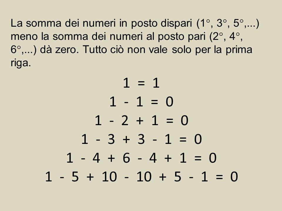 La somma dei numeri in posto dispari (1°, 3°, 5°,...) meno la somma dei numeri al posto pari (2°, 4°, 6°,...) dà zero.