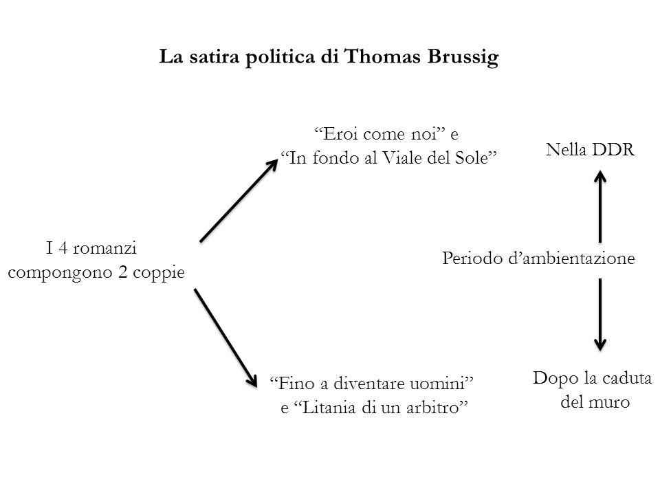 La satira politica di Thomas Brussig I 4 romanzi compongono 2 coppie Periodo dambientazione Dopo la caduta del muro Nella DDR Eroi come noi e In fondo