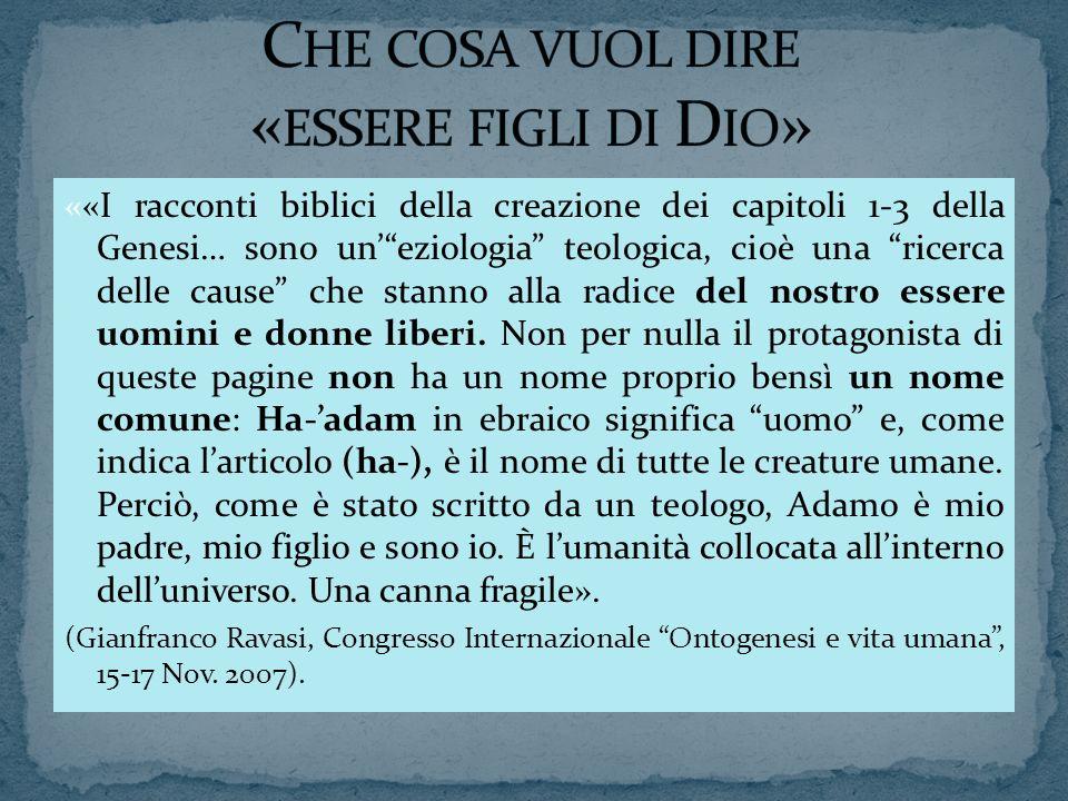««I racconti biblici della creazione dei capitoli 1-3 della Genesi… sono uneziologia teologica, cioè una ricerca delle cause che stanno alla radice de