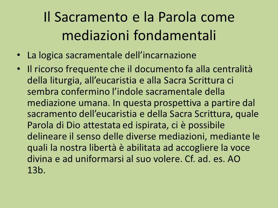 Il Sacramento e la Parola come mediazioni fondamentali La logica sacramentale dellincarnazione Il ricorso frequente che il documento fa alla centralit