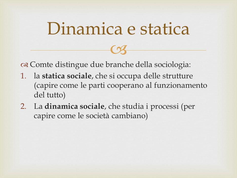 Comte distingue due branche della sociologia: 1.la statica sociale, che si occupa delle strutture (capire come le parti cooperano al funzionamento del tutto) 2.La dinamica sociale, che studia i processi (per capire come le società cambiano) Dinamica e statica