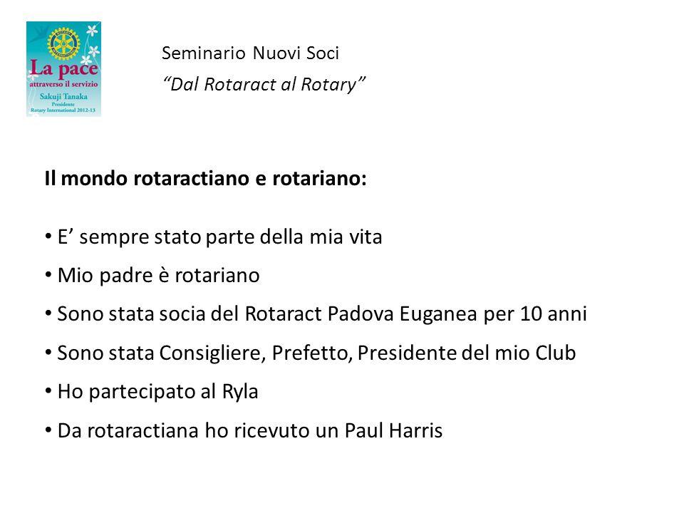 Seminario Nuovi Soci Dal Rotaract al Rotary Il mondo rotaractiano e rotariano: E sempre stato parte della mia vita Mio padre è rotariano Sono stata so